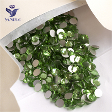 YANRUO 2058NoHF SS16 Peridot 1440Pcs Glue On Nails Crystal Non Hot Fix Strass Flatback Glass Rhinestones For Nail Art
