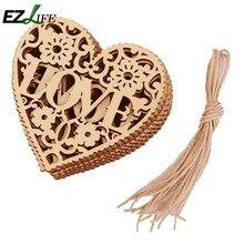 10szt drewniane ozdoby HEART