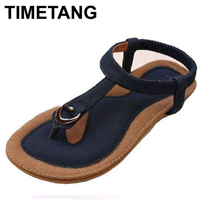 TIMETANG Women Summer Style Flat Shoes Women Flat Heel Comfortable Soft Bottom Sandals Women Sweet Flip Flops large Size 35-42 covoyyar 2018 fringe women sandals vintage tassel lady flip flops summer back zip flat women shoes plus size 40 wss765