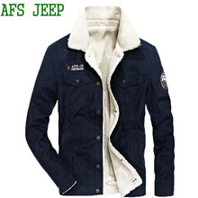AFS JEEP Men thick Very heat winter Soft coat males jacket prime quality Multi-pocket Plush Cotton jacket males parka Coat males 130