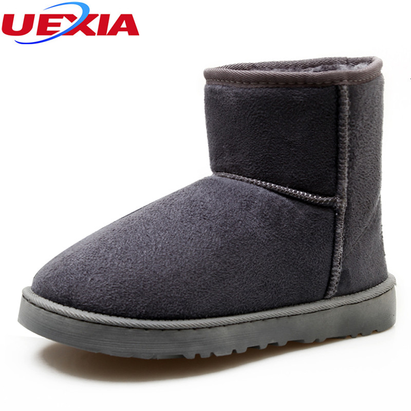 цена на UEXIA Unisex Fashion Winter Suede Snow Ankle Boots Women Shoes Female Warm Winter Shoes Woman Round Toe Botas Mujer Plus Size 45