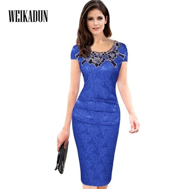 be7c49fd39 WEIKADUN 2018 Women Summer Lace dress Office Work Wear Short Sleeve Dress  Formal Vintage Pencil Dress Blue Knee-length L213