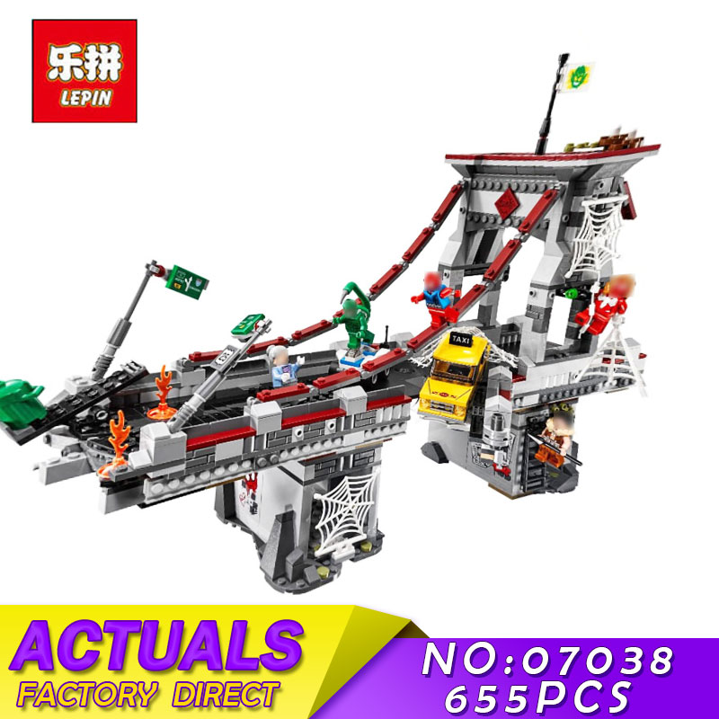 New LEPIN 07038 1165Pcs Super Hero Serie Spiderman Web Warriors Bridge Battle Model Building Blocks Bricks Kid Education Toys садовый светильник globo solar 3302 3 page 4