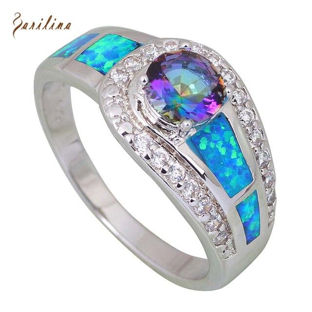 Кольца для женщин Blue Rainbow Mystic Цирконий Опал Стерлингового Серебра 925 наложение ювелирные изделия кольца размер 5 6 6.5 7 7.5 8 10 R408