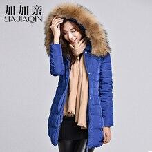 JIAJIAQIN Winter Duck Down Jacket Women Long Coat Parkas Thickening Female Warm Clothes raccoon fur collar