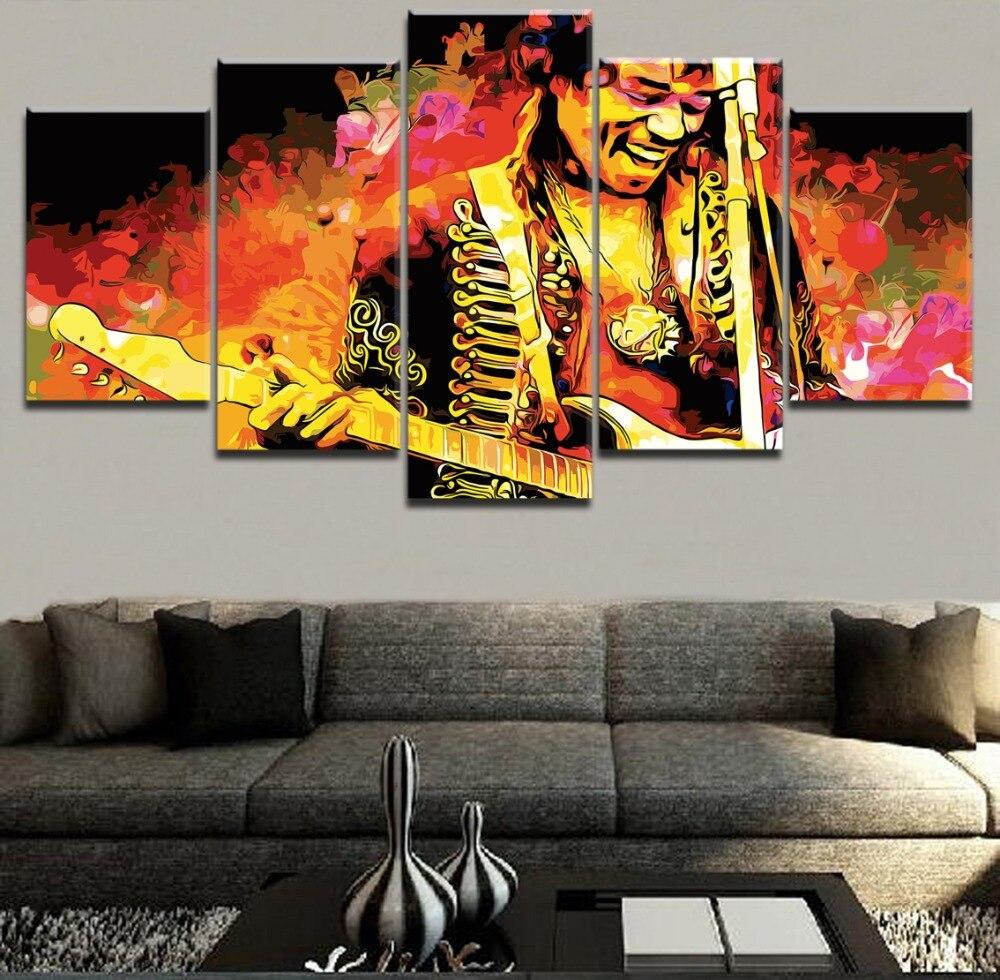 Leinwand Gemälde Für Wohnzimmer Wohnkultur 5 Stück Gitarre Musiker ...