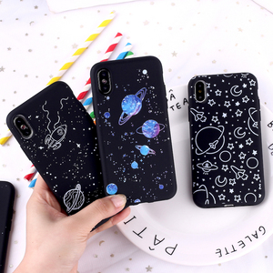 Outer Space Planet Stars Moon Spaceship Soft Matte Silicone Matte Case Fundas For iPhone 11 Pro 6 6S 8 8Plus X 7 7Plus XS Max(China)