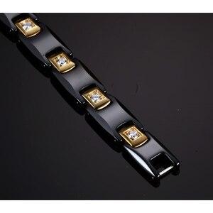 Image 3 - Vinterly 黒セラミックブレスレット女性チェーンリンク治癒エネルギー磁気ヘマタイトクリスタルゴールド色のブレスレット & バングル