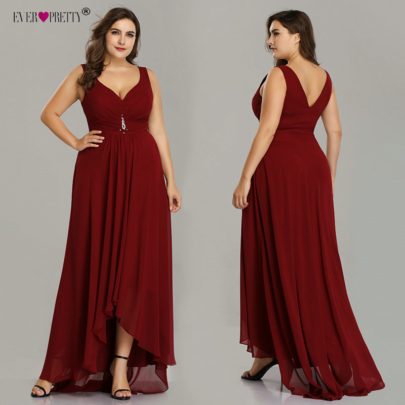 Plus Size   Evening     Dresses   Long 2019 Elegant Burgundy A-line Sleeveless Crystal High Low Ever Pretty Special Occasion   Dresses