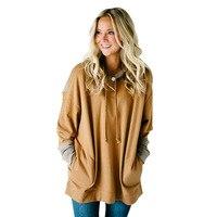 Elegant 2018 Spring Hooeded Sweatshirt Women Patchwork Long Sleeve Pullover Streetwear Big Pocket Cotton Blend Hoodies S 2XL