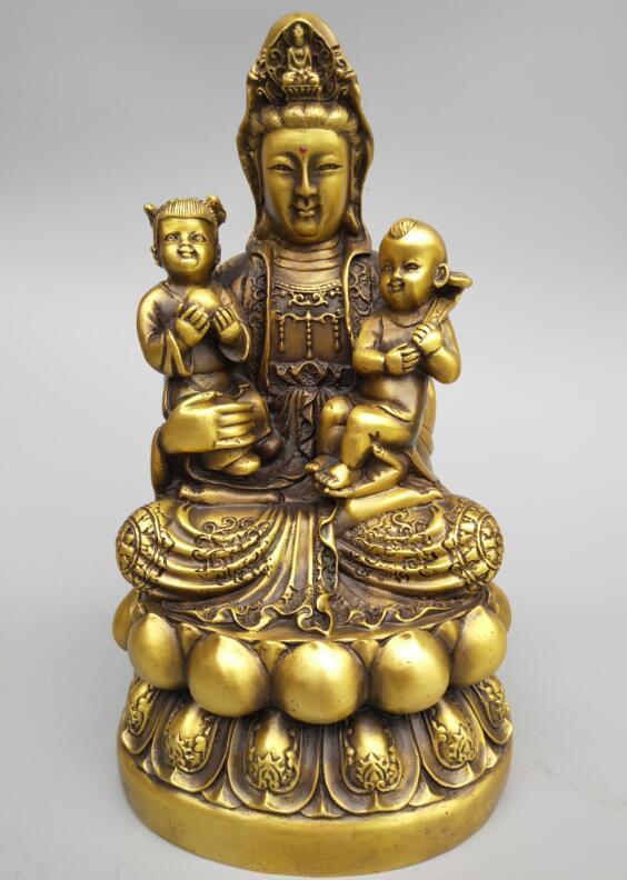 Chinas Seiko carving pure brass Guanyin bodhisattva hug baby Buddha statueChinas Seiko carving pure brass Guanyin bodhisattva hug baby Buddha statue