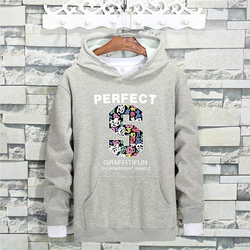 QIMAGE Causal Big Size Male Fleece Hoodie Loose Sweatshirt 2017 New Autumn Winter MensHoodiesThick Warm Pullover Black M-5XL 44