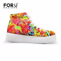 FORUDESIGNS 2018 Flats Platform Shoes Woman Height Increasing Female Breathable Shoes Lace up Creepers Shoes for Ladies Casual