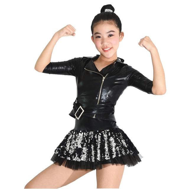 58c90a026 Girls PU Jacket Jazz Dance Costumes Ballroom Dance Dress Hip Hop ...