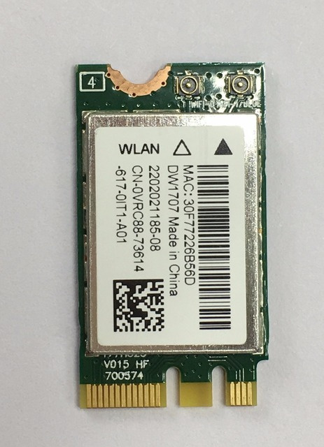 US $6 99 |FOR Dell Wireless DW1707 WLAN WiFi 802 11 b/g/n + Bluetooth 4 0  NGFF Card VRC88 Latitude 3340 E5250 3550 E7250 E7450 -in Network Cards from
