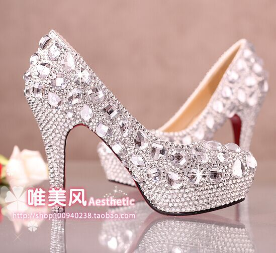 HOT!!! Gorgeous Women Pumps Silver Handmade Diamonds Rhinestone ...