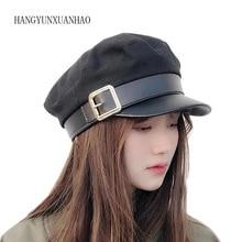 Military Hat Women Army Cap Woolen Patchwork Leather Black Baker Boy Sun Hat Spring Autumn Brand Sailor Flat Top Hat Snapback