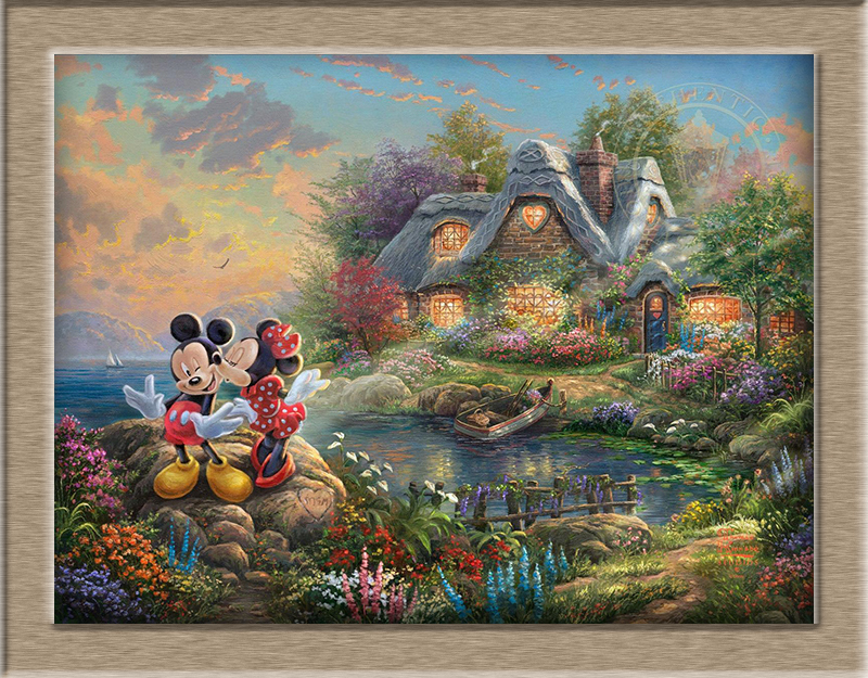 Thomas Kincaid Mickey and Minnie Sweetheart Cove HD Print Oil Painting Wall Art Picture For Living Room painting no frame