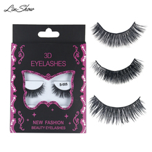 LinShow 3 Pairs 3D Mink Eyelashes Natural Long CrissCrooss False Lashes Hand Made Full Strip 100% Real Eyelash Makeup Tools