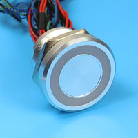 25mm Momentary Stainless Steel O Ring LED Iluminated Light Vandal Resistant IP68 Waterproof 5 Coclor Wires Piezo Button Switch