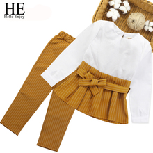 HE Hello Enjoy Childrens Clothes Autumn Winter Girls Clothing Sets Fashion Long Sleeve Bow Tops+Stripe Pants 2pcs Suits Kids