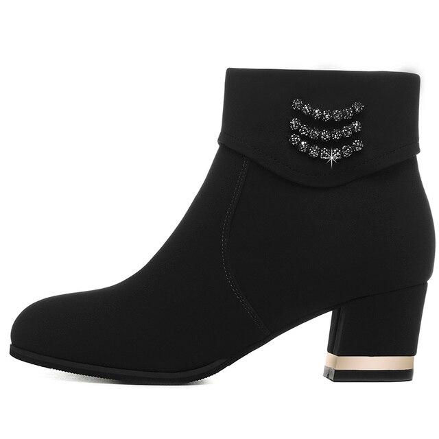 New rắn màu round head mắt cá chân khởi động nữ dây kéo trở lại dày với booties của phụ nữ Mùa Thu và mùa đông giày dép thời trang