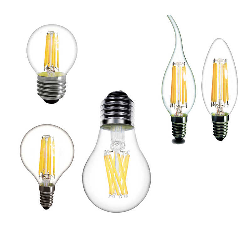 LED Edison Light E14 LED E27 Bulbs A60 C35 G45 vintage lamp 2W 4W 6W 8W bulb 220v LED lamp E14 Globe decorative Filament E27