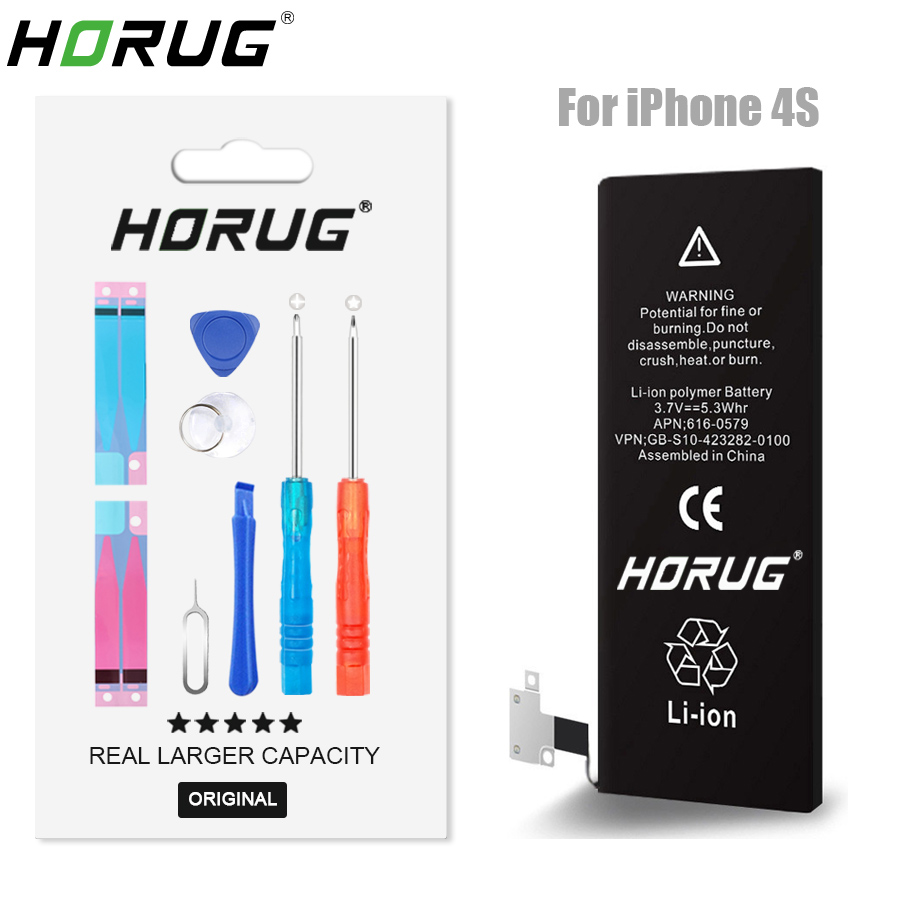 2018 NEW HORUG 100 Original Mobile Phone Battery For IPhone 4S Battery Original Capacity Sticker Replacement