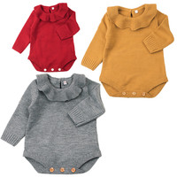 Autumn Baby Girl Clothes Cotton Baby Rompers Knitted Ruffles Newborn Baby Girl Clothing Long Sleeve Infant