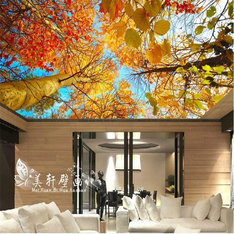 Beibehang custom mural autumn leaves nature landscape sun for Custom photo mural wallpaper
