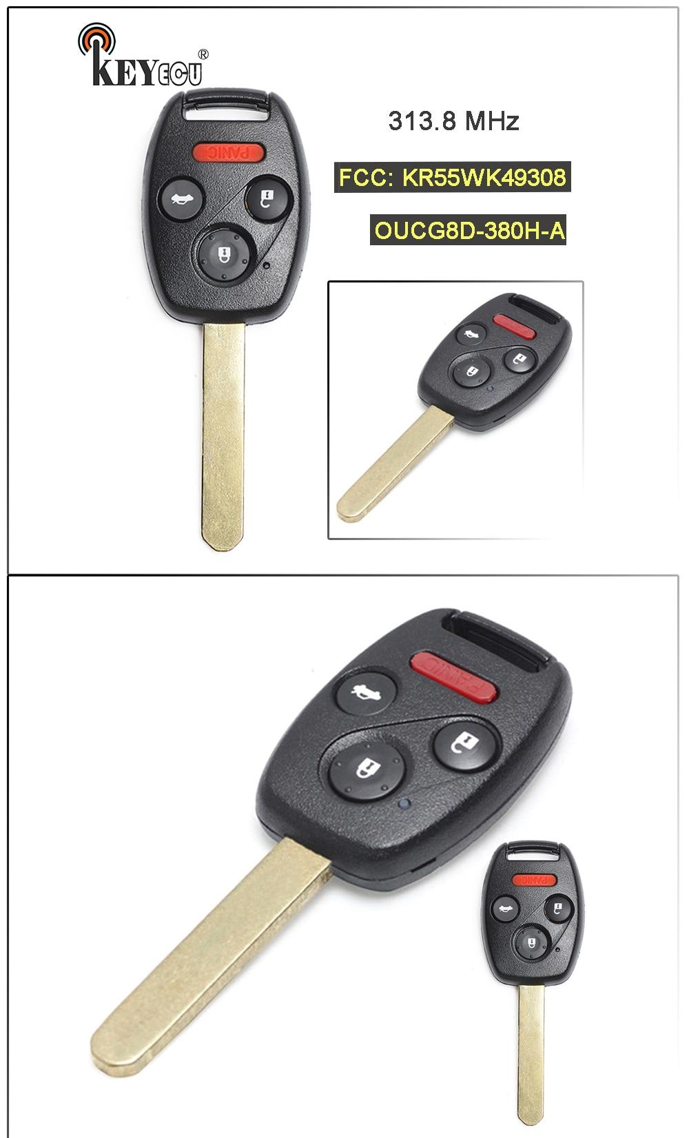 Remote Car Key Fob 3+1 Button for Honda Accord Sedan 2008-2012 FCC:KR55WK49308