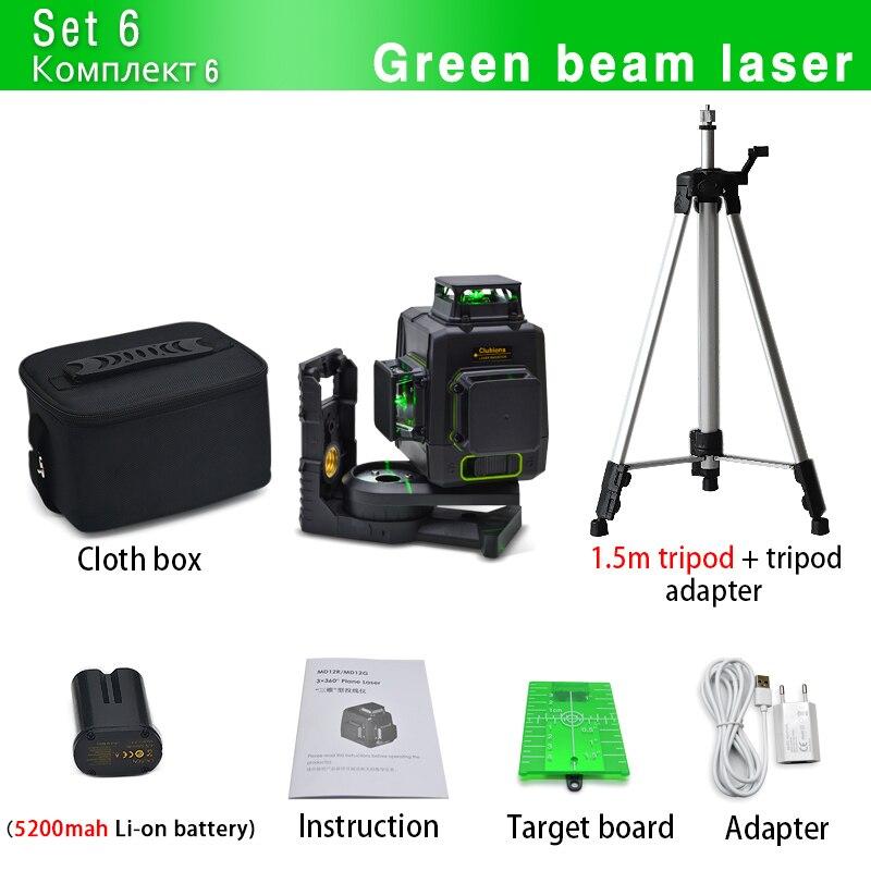 Clubiona CE сертифицированный 3D лазерный нивелир с аккумулятором 5200 мАч и горизонтальными и вертикальными линиями работает отдельно лазерные линии - Цвет: MD12G and tripod