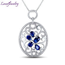 Estate Real Diamond Genuine Blue  Sapphire Solid 18Kt White Gold Cluster Floating Pendant Neklace Gemstone Jewelry for Women