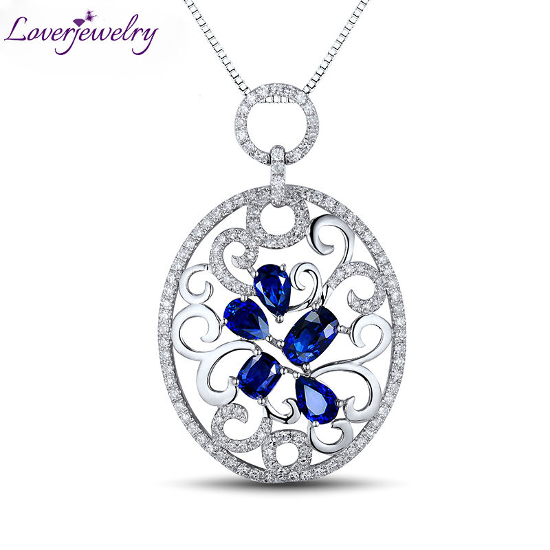 Classic Real Diamond Genuine Blue Sapphire Solid 18Kt White Gold Cluster Floating Pendant Neklace Jewelry for Women