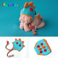 Crochet Nouveau-Né Garçons Dinosaure Tenues Bébé Photographie Props Tricoté  Dinosaure Hat   Diaper Ensemble 9306bee1a93