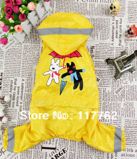 Raitail New Arrival yellow Pet Dogs Raincoat with cute picture print Free Shipping Dogs Clothes new clothing for dog