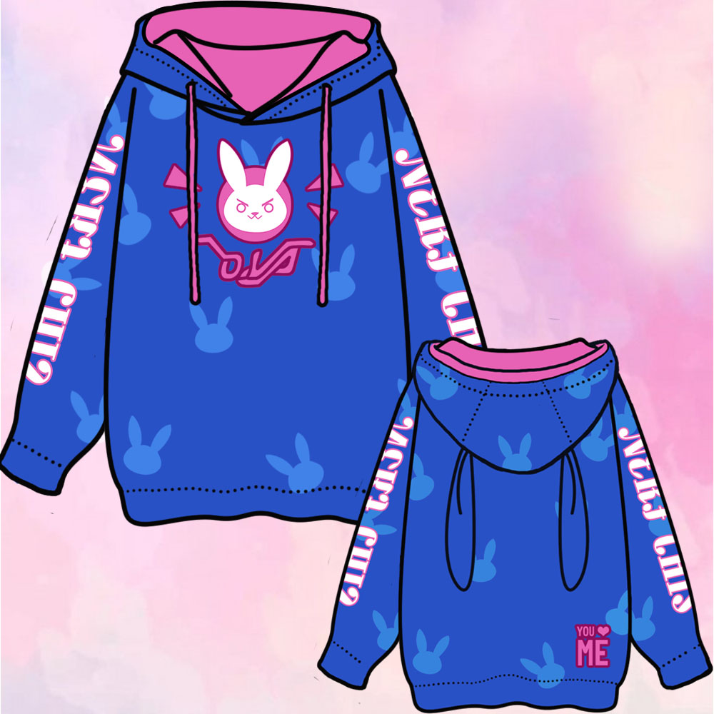 OW D.VA Hana Song Rabbit Cosplay Coat Blue Pullover Hoodie Free Size ...