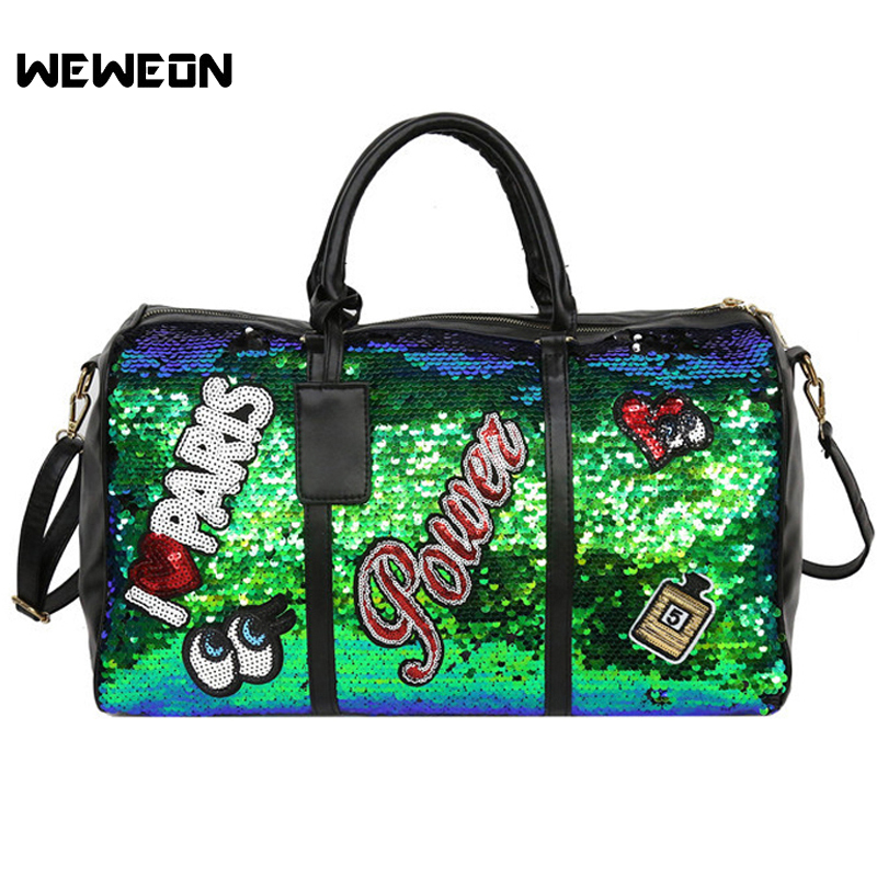 Sequins Sport Bag Women S Pu Gym Travel Tote Bags Stylish Embroidery Handbag Perfume Lady Workout Weekend Duffel Luggage