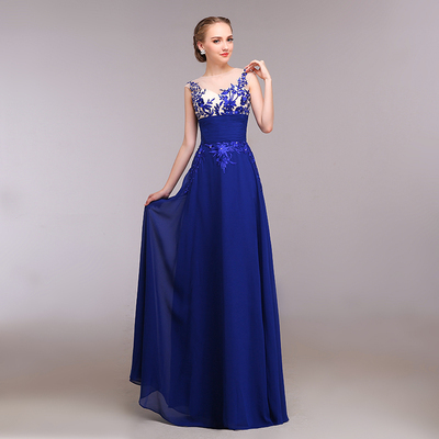 Vestido de madrinha azul royal barato