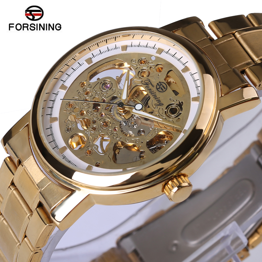 Forsining New Luxury Golden Mechanical Wrist Watch Men Stainless Steel Band Skeleton Dial Mens Watches Top Brand Luxury Gift Box fashion men mechanical hand wind watches men skeleton stainless steel wristwatches for male luxury golden watch men