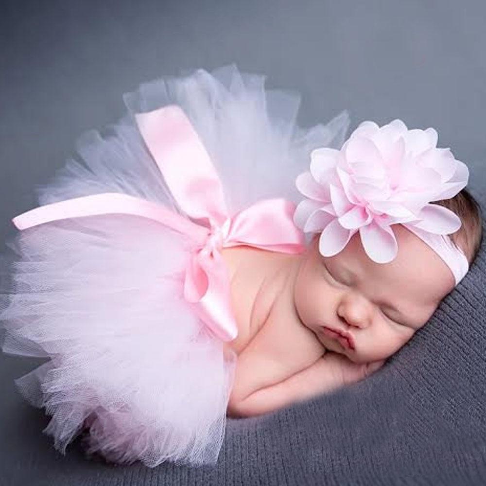 Conjunto saia de tule tutu e faixa com flor, para ensaios de recém-nascidos bebês meninas acessórios para fotos 10 cores ZT001