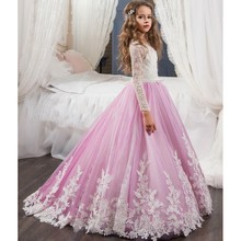 Princess Lilac Lace Flower Girls Dress With Long Sleeve Cheap 2017 First Communion Dress Ball Gown Cheap Holy Communion Gown