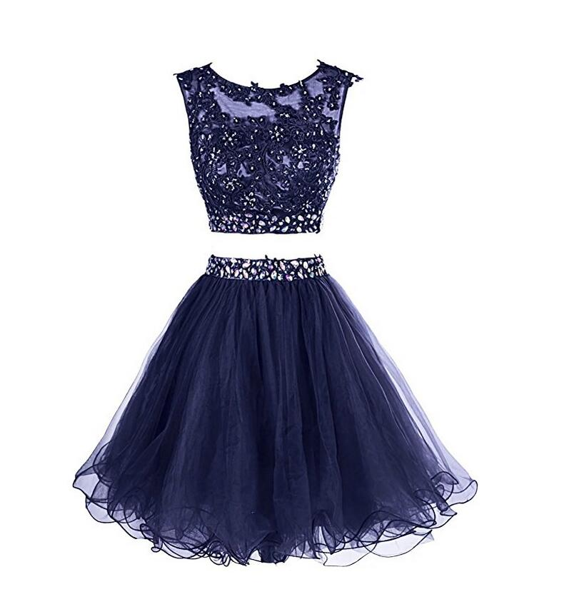Sexy Navy Homecoming Dresses Two Piece Lace And Tulle ...