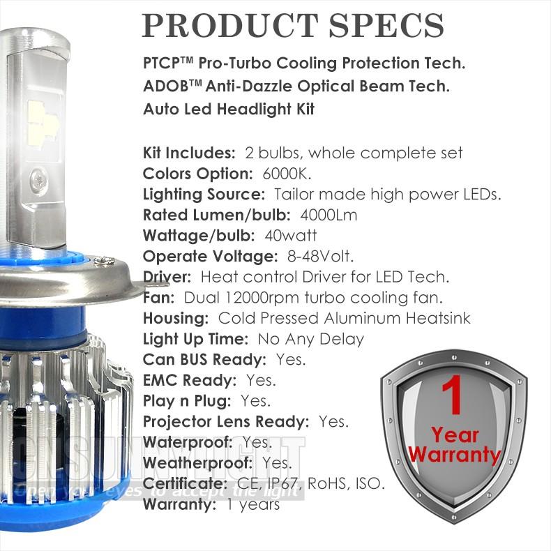 H4 Car Led Headlight High Power Auto H4-3 Hi lo HB2 9003 High Low 40W X2 White 6000K Bulb Repalcement Bi Xenon Headlamp (5)