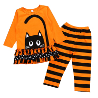 Halloween Sets New Autumn O Neck Full Sleeve T Shirt+Pants 2 Pcs Kids Clothes Sets Animal Print Cat Children Clothing Set