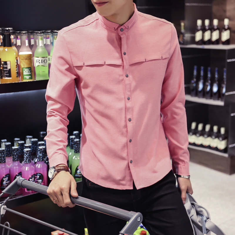 Spring style Oxford spun mens long-sleeve han version of peach shirts casual and plain men Favourite Fashion Free shipping