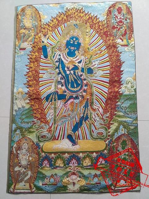 36 Inch Tibet Silk Embroidery King Kong Hai Mother Buddha Tangka
