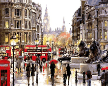 DIY Oil Painting By Numbers Frameless Paint On Canvas Rain Shopping Street