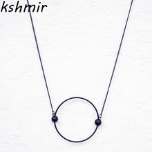 New round metal long necklace geometric simple fashion sweater chain pendant necklace jewelry 2018 fashion necklace restoring an недорого