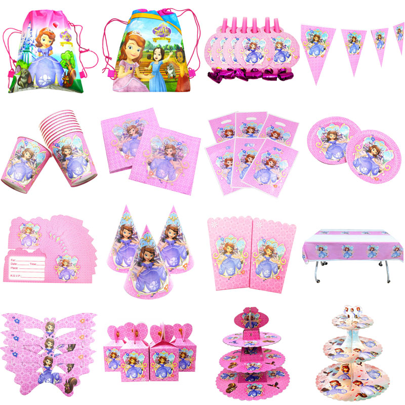 Disney Princess Sofia the First Birthday Theme Party Paper tableware Decoration Set Baby Shower Party Supplies kids birthday set earrings